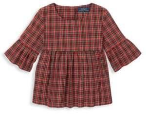 Ralph Lauren Little Girl's& Girl's Tartan Bell-Sleeve Top