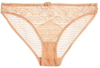Ophelia Whistling Stretch-leavers Lace Briefs - Peach
