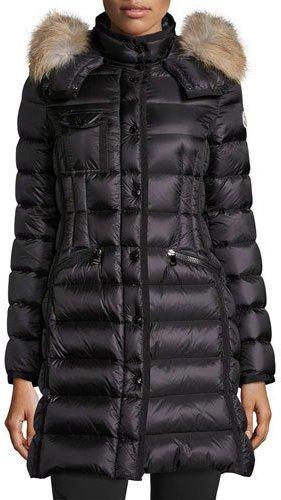 MonclerMoncler Hermifur Snap-Front Puffer Coat, Black