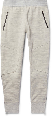 Under Armour Sportswear Pivot Slim-Fit Tapered Shell-Panelled Jersey Sweatpants $180 thestylecure.com
