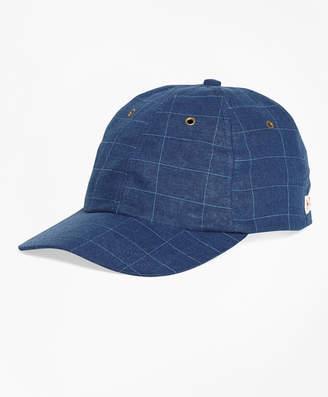 Brooks Brothers Windowpane Denim Baseball Cap