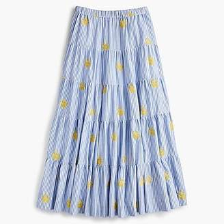 J.Crew Embroidered pineapple midi skirt