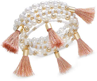 INC International Concepts I.N.C. Gold-Tone Bead and Tassel Stretch Bracelet, Created for Macy's