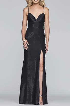Faviana Long Halter Neck Metallic Jersey Dress