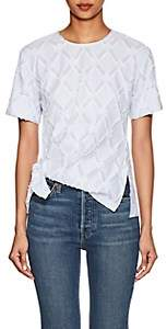 Derek Lam 10 Crosby Women's Striped Knot-Front Cotton-Blend Top - White