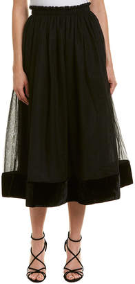 Cinq à Sept Genesse Silk-Trim Midi Skirt