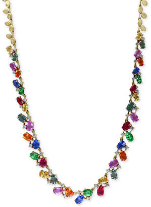 Effy Watercolors by Multi-Gemstone (17-3/4 ct. t.w.) and Diamond (1 ct. t.w.) Statement Necklace in 14k Gold, Created for Macy's