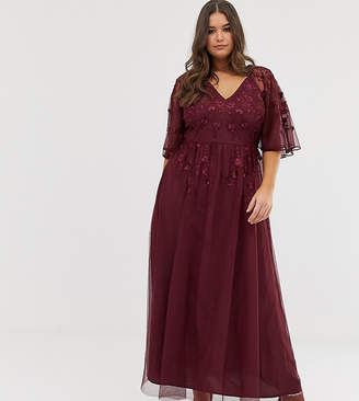 Asos DESIGN Curve flutter sleeve maxi dress in embroidered mesh