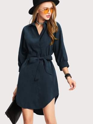 Shein High Low Curved Hem Shirt Dress