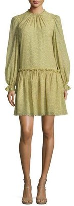 Michael Kors Long-Sleeve Floral-Print Dress, Leaf/Oleander $1,695 thestylecure.com