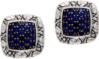 Croco Jai JAI Sterling Silver Pave Sapphire Texture Stud Earrings