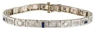 14K Art Deco Synthetic Sapphire & Diamond Bracelet.