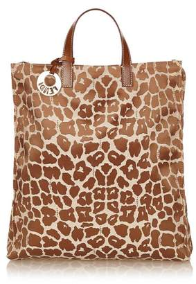 Fendi Vintage Leopard Pattern Canvas Tote Bag