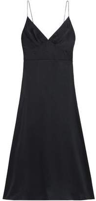 Zimmermann Fluted Washed Silk-Satin Midi Slip Dress