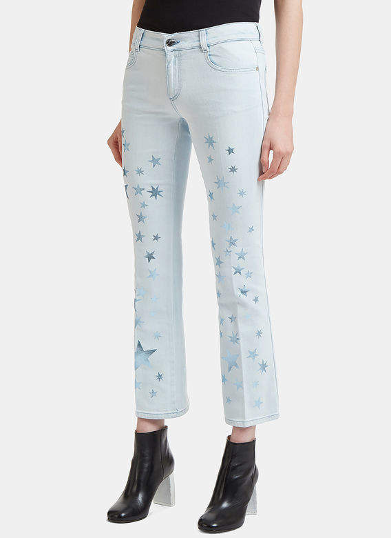 Star Printed Kick Flare Jeans in Blue