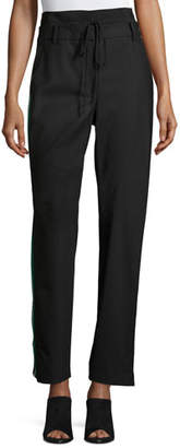 Tibi Dempsey Striped-Sides Suiting Pant, Black $695 thestylecure.com