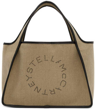 Stella McCartney Beige Linen Canvas Logo Tote