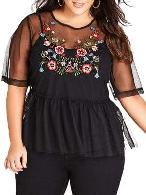 City Chic Plus 2-in-1 Mesh Love Top and Camisole