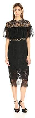 Cynthia Rowley Women's Combo Delicate and Geo Lace Midi Fitted Dress with Sheer Yoke,2