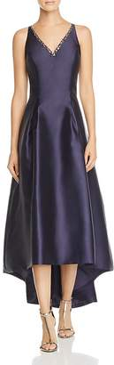 Carmen Marc Valvo Mikado V-Neck High/Low Gown