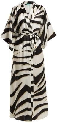 Melissa Odabash Jules Zebra Print Satin Robe - Womens - Black White