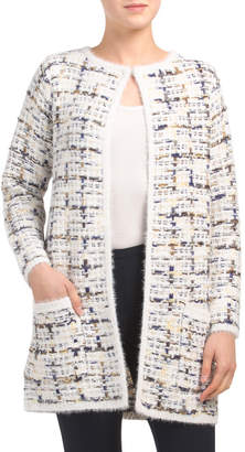 Plaid Tweed Open Long Cardigan Sweater