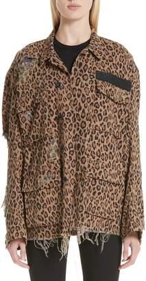 R 13 Shredded Leopard Print Jacket