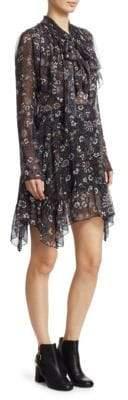 See by Chloe Paisley Sheer Long Sleeve Mini Dress