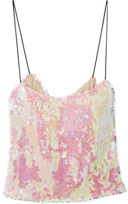 Sandy Liang - Scales Sequined Chiffon Camisole - Pink