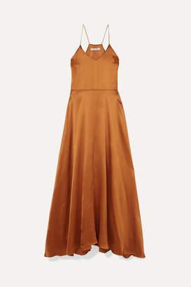 Deitas - Bo Metallic Silk-satin Maxi Dress - Bronze