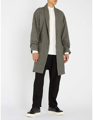 The Elder Statesman Cotton, wool and cashmere-blend belted wrap coat