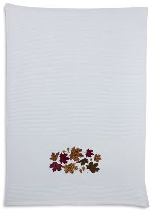 Sur La Table Embroidered Leaf Kitchen Towel