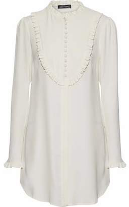 Magda Butrym Rimini Ruffle-Trimmed Silk Crepe De Chine Mini Shirt Dress
