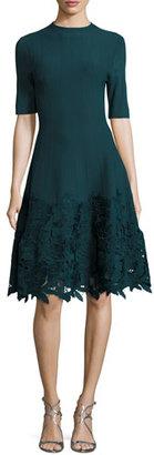 Lela Rose Ottoman Knit Dress with Lace Hem $1,595 thestylecure.com