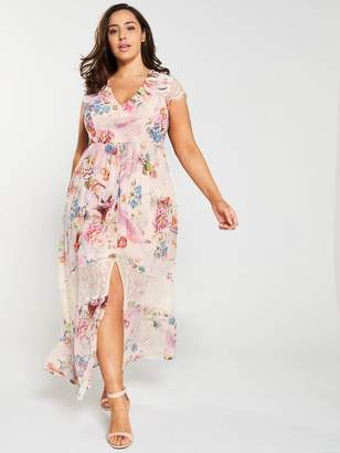 240c5cb979b5 Little Mistress Curve Lace Trim Floral Printed Maxi Dress - Pink