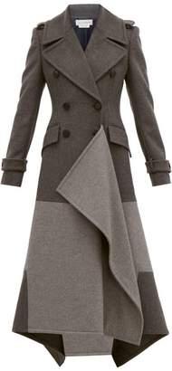 Alexander McQueen Draped Double Breasted Wool Blend Coat - Womens - Grey Multi