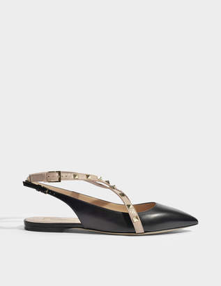 Valentino Rockstud Ballerinas in Black and Poudre Leather and Studs