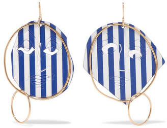 J.W.Anderson Moon Face Gold-tone And Varnish Earrings - Blue IriUihv6