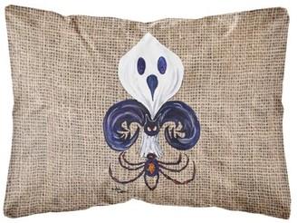Caroline's Treasures Halloween Ghost Spider Bat Fleur de lis Decorative Canvas Fabric Pillow