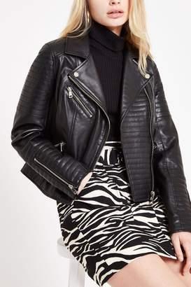 River Island Womens Black Leather Jacket - Black