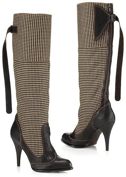 Jean Paul Gaultier Houndstooth Tall Boot
