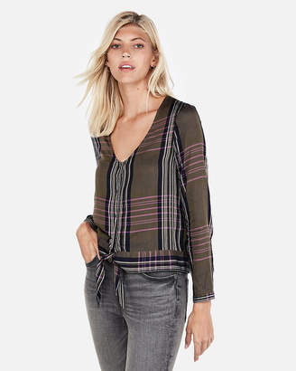 Express Plaid Tie Front Shirt