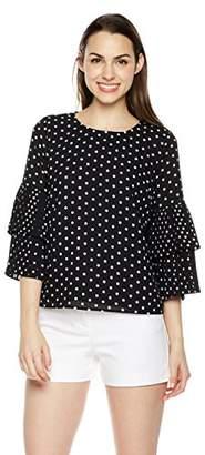Plumberry Women's Ruffle Sleeve Polka Dots Casual Zip Blouse Tops Black