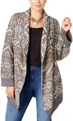 Style&Co. Style & Co. Womens Plus Patterned Open Duster Duster Sweater Beige