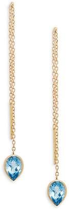 Anzie Women's Classique 14K Gold & Blue Topaz Pull-Through Earrings