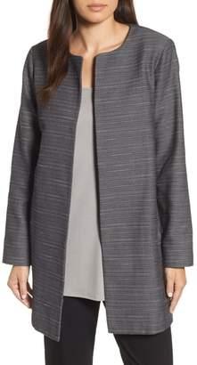 Eileen Fisher Open Front Herringbone Jacket