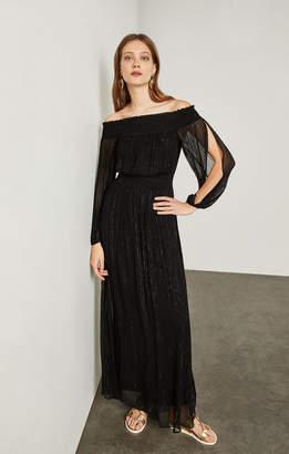 BCBGMAXAZRIA Metallic Pinstripe Maxi Dress