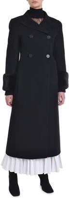 Fendi Cashmere Mink-Fur Cuff Double-Breasted Coat