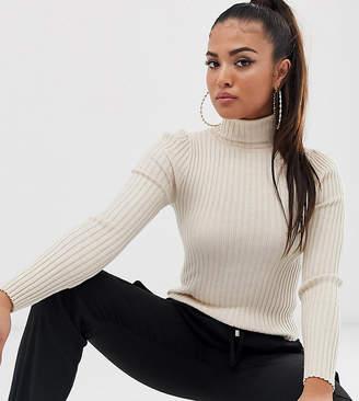 Asos DESIGN Petite roll neck jumper in fine knit rib