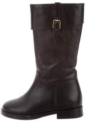 Burberry Girls' Leather Round-Toe Riding Boots